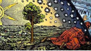 """Wood engraving by Camille Flammarion: """"Un missionnaire du moyen âge raconte qu'il avait trouvé le point où le ciel et la Terre se touchent"""" (source: Wikipedia)"""