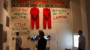 Images and videos of demonstrations against immigration laws in Denmark are presented in CAMP exhibtions along with banners and outfits activists used in demonstrations (photo: Changiz M. Varzi)