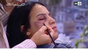 Make-up session shown on Morocco's Channel 2M (source: YouTube)