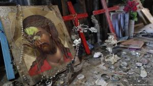 Icon inside the heavily damaged Church of the Immaculate Conception in Qaraqosh (photo: THOMAS COEX/AFP/Getty Images)
