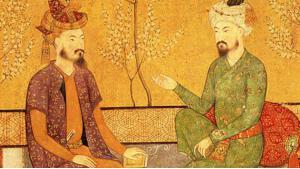 Historic illustration of Babur and his successor Humayun (source: Wikipedia)