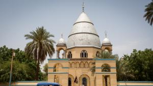 "The tomb of Muhammad Ahmad in Omdurman, near Khartoum in Sudan. In his homeland, he was known only as the ""Mahdi"" (the redeemer). He led a rebellion against the British, who ruled Sudan until 1956"