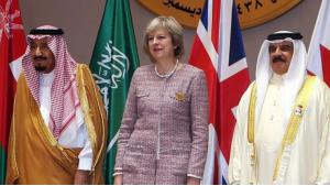 The Saudi King Salman (left), British Prime Minister Theresa May (centre) and King Hamad bin Issa al-Khalifa of Bahrain during the GCC summit on 7 December 2016 in Manama (photo: AFP)