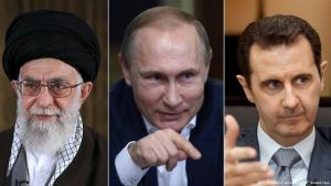 Ali Khamenei, Supreme Leader of Iran, Russia's President Putin and the Syrian President Bashar al-Assad
