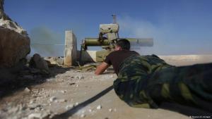 A rebel fighter near the city of Aleppo