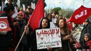 ″No to terrorism!″ – Demonstration in Tunis against the repatriation of convicted jihadists (photo: AFP/Getty Images)