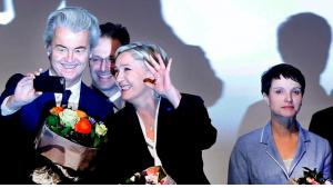 Meeting of right-wing political parties in Koblenz, Germany, on 21 January 2017: Geert Wilders (left), Marine Le Pen (centre) and Frauke Petry (right) (photo: AP)