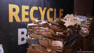 Piles of sorted cardboard at Recycle Beirut (photo: Lilian Natalie Mauthofer)