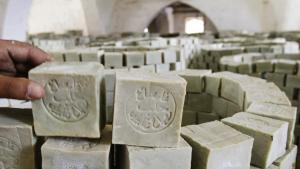 Stacks of Aleppo soap in a factory in Aleppo′s Old Town (photo: Reuters)