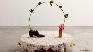 Art installation by Nilbar Gures: shoe, rose and dildo (photo: CHROMA Istanbul)