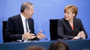 The German Chancellor Angela Merkel with the Turkish President Recep Tayyip Erdogan at a Berlin press conference in 2014 (photo: Imago/Zuma)