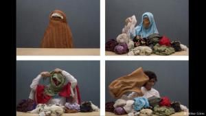 """Beneath the scarves: Muslim women who cover their heads are not marionettes of their beliefs, says video artist Nilbar Gures. Four still images shown here are taken from her 2006 performance, """"Soyunma/Undressing"""", in which she unravels one veil after the other while mumbling the names of the women in her family"""