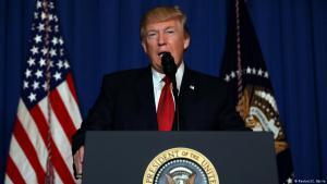 U.S. President Donald Trump gives a speech following the airstrike on Syria (photo: Reuters)