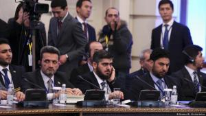 Syrian opposition delegation headed by Mohammad Alloush (centre) attending the first round of negotiations in Astana, January 2017 (photo: Reuters/Mukhtar Kholdorbekov)