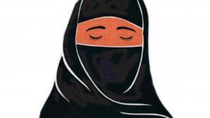 Cartoon of a niqab-wearing woman (source: Facebook)