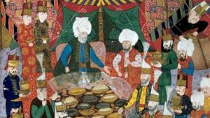 A banquet given by the commander-in-chief Lala Mustafa Pahsa to the janissaries in Izmit, 5 April 1578 (source: Topkapi Palace Museum Library, MS H1365, fol. 34b.)