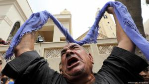 A Egyptian Copt vents his grief and anger following the terrorist attack in Tanta (photo: Reuters/M. Abd el Ghany)