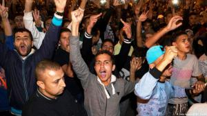 Protesters in Al-Hoceima in Morocco's Rif region demonstrating in May 2017 for social and economic development