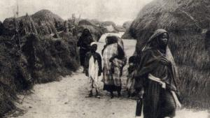 Historical image showing inhabitants of the Benghazi slave enclosure
