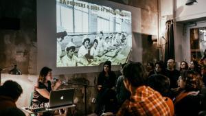 Daughters and Sons of Gastarbeiters writers' collective event in bik'bak, Berlin-Wedding (photo: Felix Kayser)