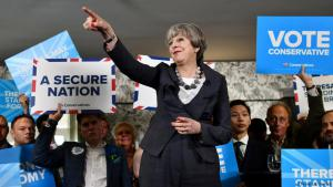 Theresa May campaigning in the run-up to the UK general election on 8 June 2017 (photo: Reuters/B. Stansall)