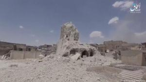 The ruins of Al-Nuri mosque in Mosul (photo: Reuters/Ahmaq News Agency)