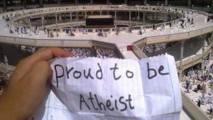 """""""Proud to be atheist"""" at the Kaaba in Mecca (source: Twitter)"""
