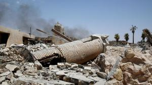What remains of the al-Hadba minaret belonging to Mosul′s 12th century Great Al-Nuri Mosque (photo: Reuters)