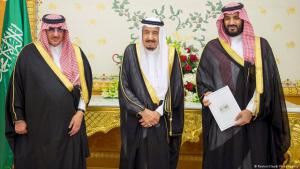 Saudi Crown Prince Mohammed bin Naif, King Salman and Mohammed bin Salman (right) launch the Vision 2030 reform project in April 2016 (photo: Reuters)