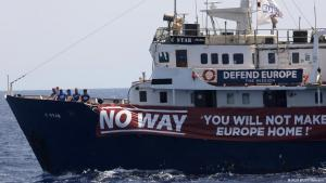 The C-Star vessel run by anti-immigration activists 'Defend Europe' off the coast of Libya, 15 August 2017 (photo: Reuters/Y. Behrakis)