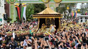 Marking 50 years on throne: Brunei's fabulously wealthy sultan marked 50 years on the throne in lavish style, travelling in a gilded chariot pulled by dozens of his subjects