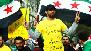 Syrian opposition supporters protest the use of chemical weapons by the Assad regime (photo: dpa/picture-alliance)