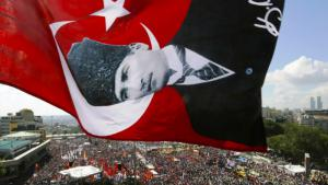 Ataturk flag above Taksim Square in Istanbul (photo: Reuters)