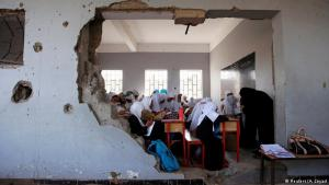 Lessons continue despite destruction: These girls are attending a class at their school in the Yemeni port city of Hodeidah despite the fact that a wall has been almost completely taken out by a Saudi-led air strike. The country has been enmeshed in a bloody civil war for three years now and the conflict shows no sign of ending. Saudi Arabia has led a coalition fighting Iran-backed Houthi rebels since 2015
