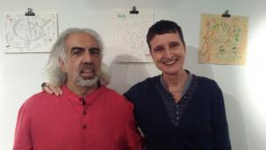"Palestinian artist and poet Farid Bitar and ""Blade of Grass"" editor Naomi Foyle (photo: Naomi Foyle)"