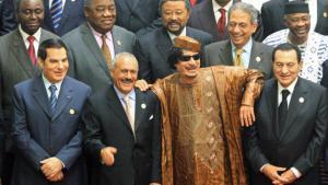 Ein schrecklich netter Männerbund: Zine el-Abidine Ben Ali neben Ali Abdullah Salih, Muammar al-Gaddafi und Hosni Mubarak; Foto: dpa