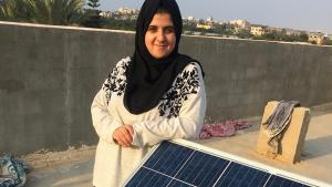 Sun Box entrepreneur Majd Mashharawi with a solar panel in Gaza City (photo: Inge Gunther)