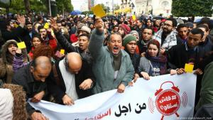 Demonstrations and protests against price hikes on 12.01.2018 in Tunis (photo: picture-alliance/abaca/Y. Gaidi)