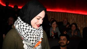 """Walaa Tanji, protagonist of the film """"What Walaa wants"""", at the Berlinale 2018 (source: Berlinale)"""