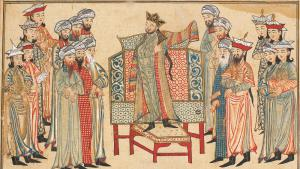 "Abbasid Caliph Al-Qadir bestowing a richly decorated robe of honour on Mahmud of Ghazni in 1000 (miniature from Rashid al-Din's ""Jami' al-tawarikh"", via Wikimedia Commons)"