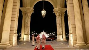 Saudi men walk out of the entrance to the Ritz-Carlton Hotel in Riyadh on 4 March 2013 (Getty Images/AFP/J. Martin)