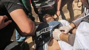 Jasser Murtaja was shot while wearing a press flak jacket (photo: Getty Images/AFP)