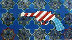 Anti-American graffiti on the occupied U.S. embassy in Tehran (photo: GFDL/CC-BY-SA/Phillip Maiwald)