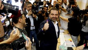 Lebanese premier Saad Hariri casting his vote in a polling station in Beirut on 6 May (photo: Reuters)