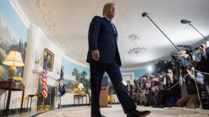 U.S. President Donald Trump leaves after announcing his decision about the nuclear deal with Iran during a speech at the White House, 8 May 2018 (photo: SAUL LOEB/AFP/Getty Images)
