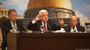 Palestinian President Mahmoud Abbas (centre) makes a speech during the 23rd session of the Palestinian National Council at the Ahmad Al-Shukairy Conference Hall in the Presidential Office in Ramallah, West Bank on 30 April 2018 (photo: picture-alliance/AA/I. Rimawi)