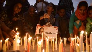 Remembering the murdered journalist Gauri Lankesh in Calcutta (photo: Imago/Hindustan Times)