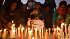 Remembering the murdered journalist Gauri Lankesh in Calcutta (photo: Imago/Hindustan Times)