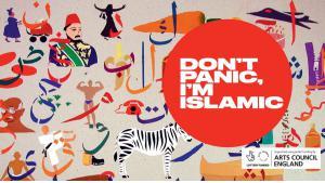"Event poster promoting the publication of Saqi Books ""Don't Panic, I'm Islamic"" (source: designmynight.com)"