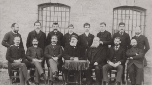 Faculty of Robert College, Istanbul, March 1892. Seated behind the desk is George Washburn, Principal of Robert College. Friedrich Schrader is fourth from right on the back row. He taught at Robert College from 1892-1895. Professor Alexander van Millingen is seated on the far left of the picture (photo: Jochen Schrader)